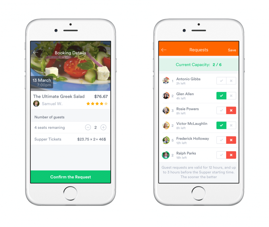 Screenshots of a few features from SupperTime mobile app