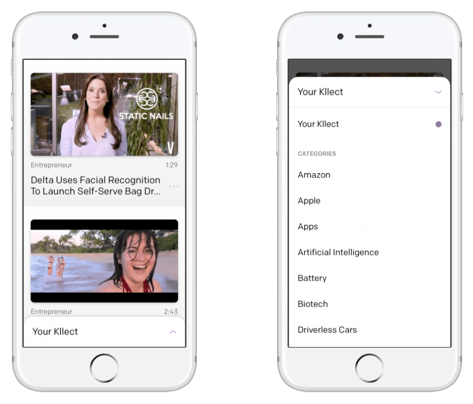 Kllect video curation mobile app - iOS & Android Mobile App